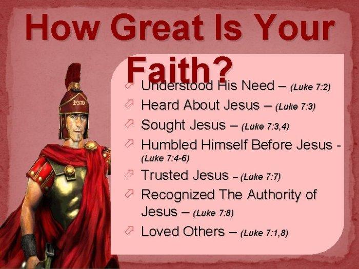 How Great Is Your Faith Luke 7 1