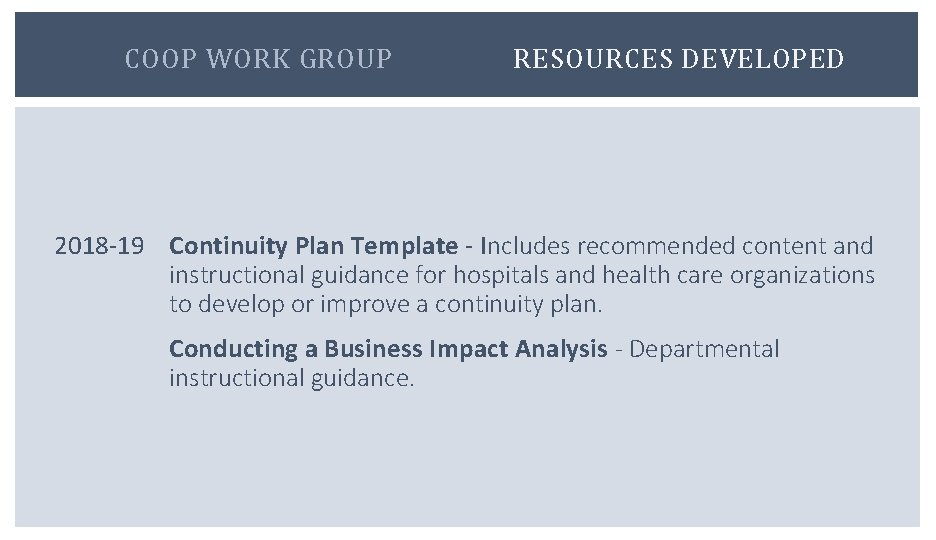Not only does this enable you to plan your company, but it also gives potential clients an insight into how your business works. Central New York Health Emergency Preparedness Coalition Continuity