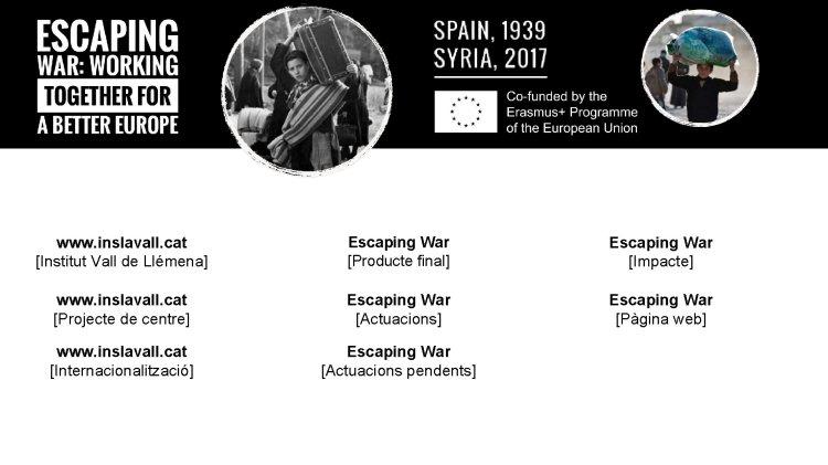 www.  inslavall.  gato [Institut Vall de Llémena] Escapar de la guerra [Producte final] Escapar de la guerra [Impacte]