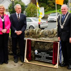 Sinead Dooley, Chairman, Offaly County Council, Johnny Rigney, Chaiman, Slieve Bloom Association and John Joe Fennelly, Chairman, Laois County Council