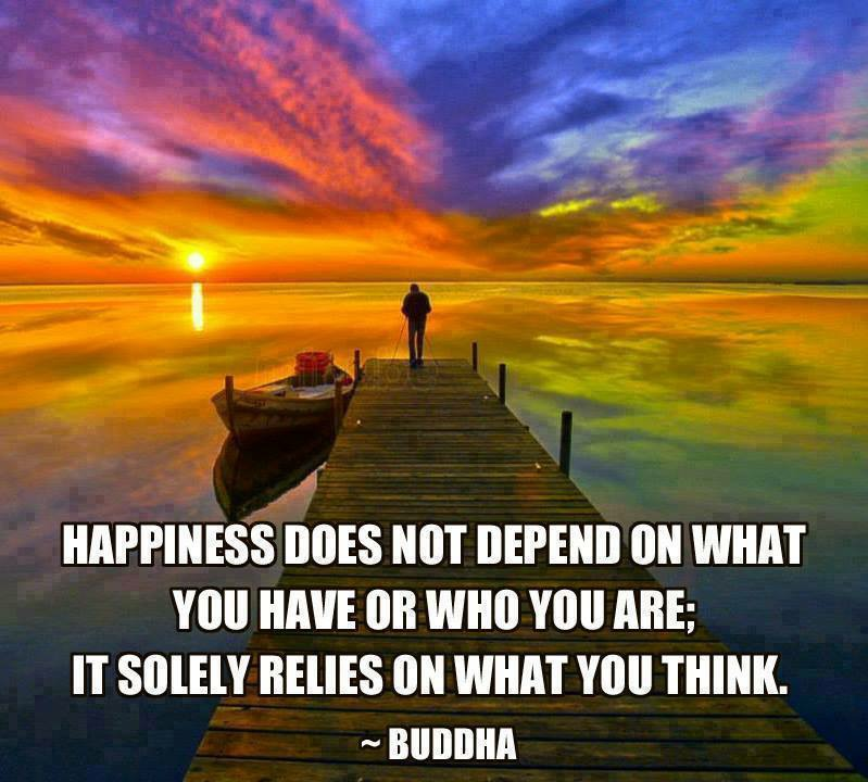 Happiness does not depend on what you have or who you are; It solely relies on what you think - Buddha