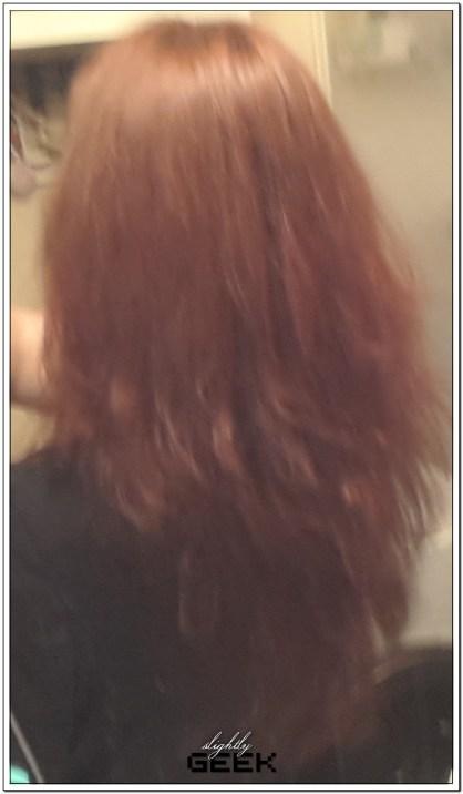"""Włosy po farbowaniu, wysuszone (dlatego takie """"pióra"""")"""