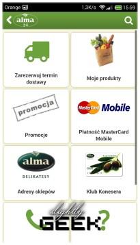 Aplikacja Almy - można dokonywać zakupów przez telefon