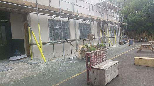 Work on new studios at Hackney Downs Studios yard