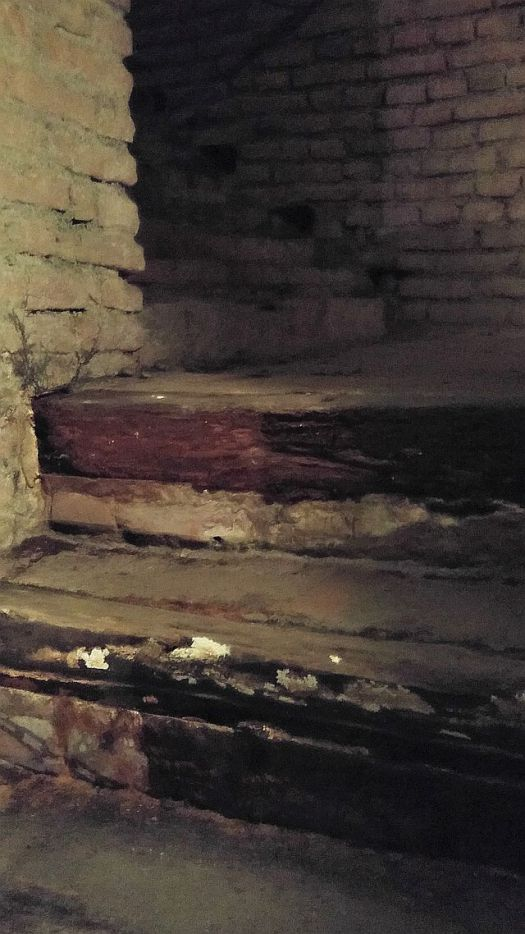 The Pietro Micca Scala - uncovered and repaired. It was under rubble, with all the bones