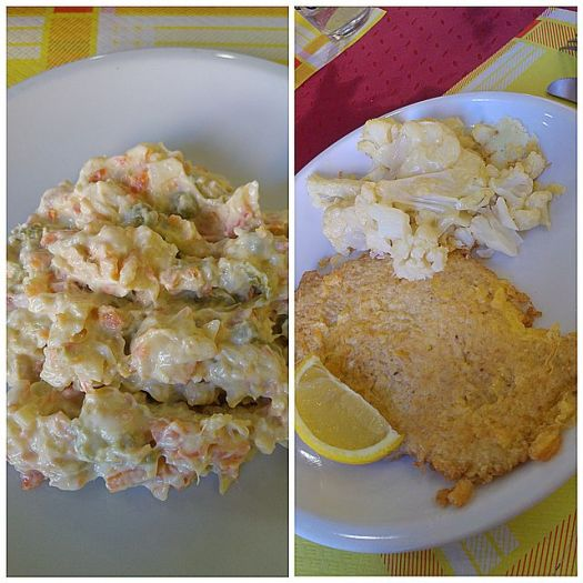 Monochromatic lunch - Russian salad, Milanese with Cauliflower Gratin