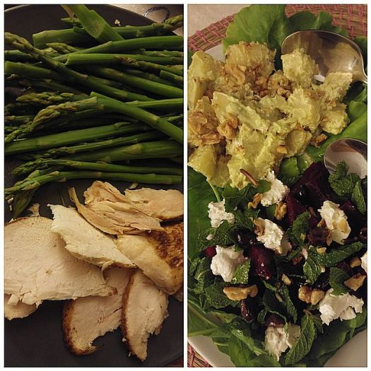My dinner. Asparagus with Chicken, Two salads - Pesto Potato salad, Beet with goat cheese and arugula