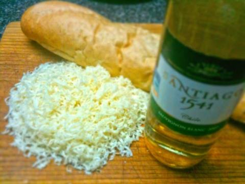 Ementhal Cheese, French Bread, White Wine