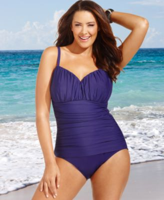 Miraclesuit Plus Size Swimsuit, Rialto Ruched One-Piece
