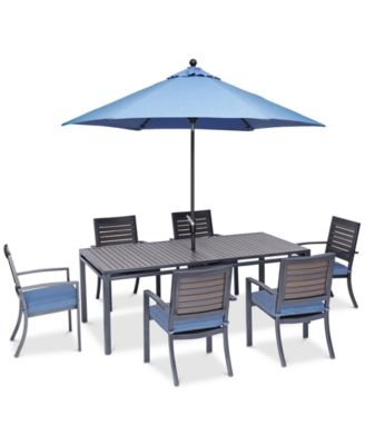 harlough ii 7 pc outdoor dining set 84 x 42 dining table and 6 dining chairs with sunbrella cushions created for macy s