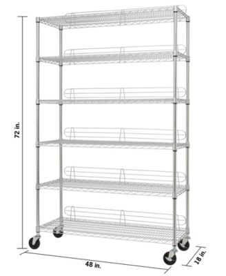 6 tier wire shelving rack with nsf includes wheels and back stands
