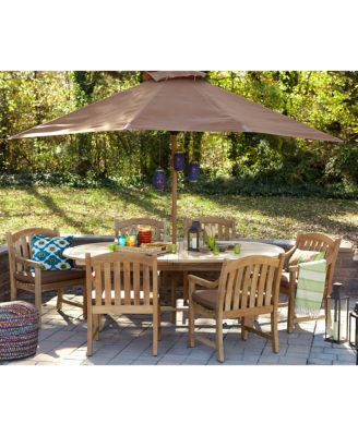 bristol outdoor teak 7 pc dining set 87 x 47 dining table and 6 dining chairs created for macy s