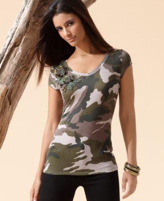 INC International Concepts Top, Cap Sleeve Camouflage Scoopneck Tee