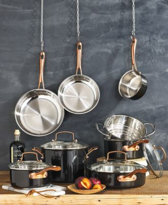 onyx black rose gold 12 pc stainless steel cookware set created for macy s