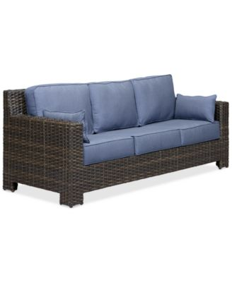 viewport wicker outdoor sofa with sunbrella cushions created for macy s