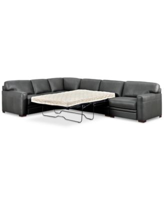 avenell 3 pc leather sleeper sectional sofa with chair created for macy s