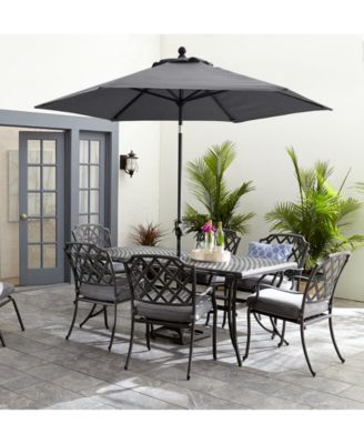 vintage ii outdoor cast aluminum 7 pc dining set 72 x 38 table 6 dining chairs with sunbrella cushions created for macy s