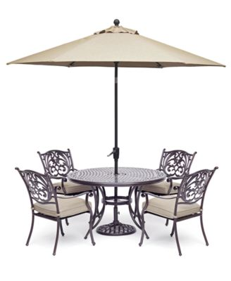 chateau outdoor aluminum 5 pc set 48 round dining table 4 dining chairs with sunbrella cushions created for macy s