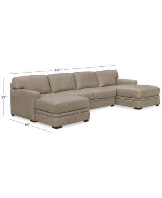 avenell 3 pc leather sectional with double chaise created for macy s