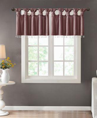 emilia 50 x 26 lined faux silk twisted tab curtain valance