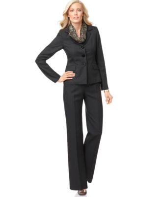 Le Suit Suit, Long Sleeve Pinstripe Jacket, Printed Scarf & Straight Leg Pants