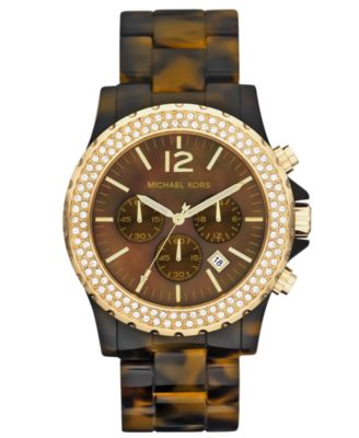 Michael Kors Watch, Women's Chronograph Tortoise Acetate and Stainless Steel Bracelet 45mm MK5557
