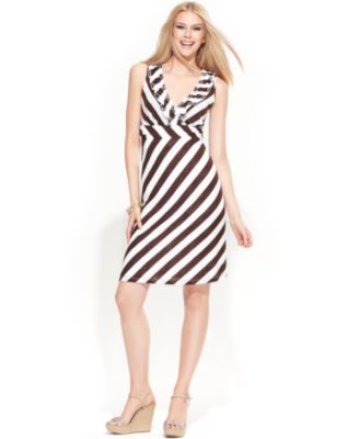 INC International Concepts Dress, Sleeveless Striped Ruffle