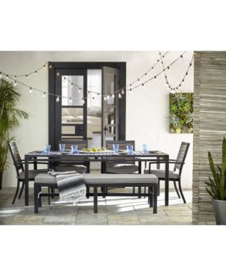 marlough ii outdoor aluminum 6 pc dining set 84 x 42 dining table 4 dining chairs and 1 bench with sunbrella cushions created for macy s