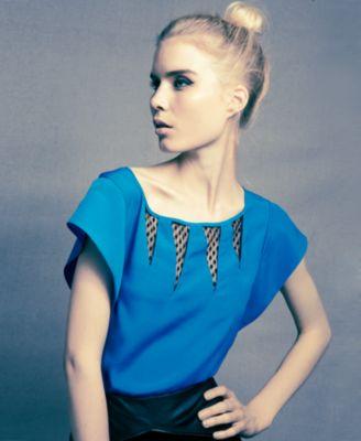 Nicole Richie for Impulse Top, Short-Sleeve Scoop-Neck Lace Cutout Blouse