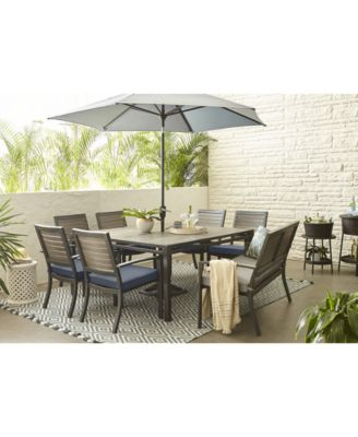 harlough ii 8 pc outdoor dining set 62 square dining table 6 dining chairs and 1 dining bench with sunbrella cushions created for macy s