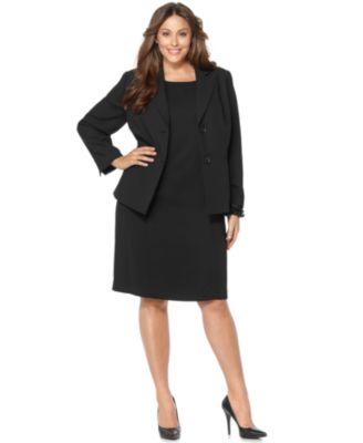 Kasper Plus Size Notched Collar Jacket & Sleeveless Sheath