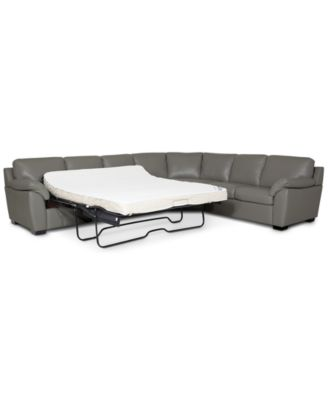 lothan 3 pc leather queen sleeper sectional sofa created for macy s