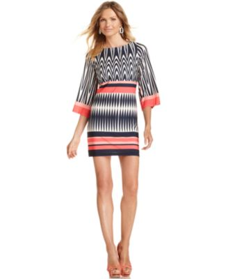 Eliza J Dress, Three-Quarter-Sleeve Printed Shift
