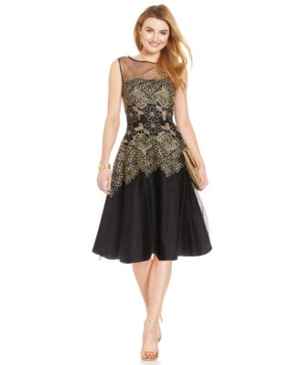 Tahari By ASL Metallic Embroidered Floral Dress Dresses