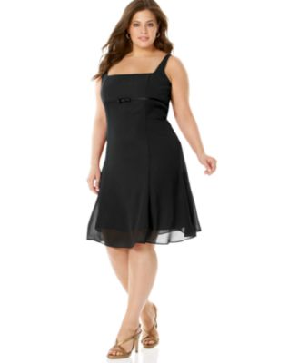 London Times Plus Size Empire-Waist Dress with Bow