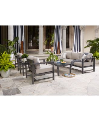 aruba grey aluminum outdoor 4 pc seating set 1 sofa 2 club chairs 1 coffee table with sunbrella cushions created for macy s