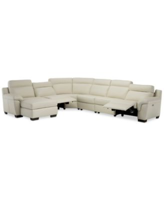julius ii 150 6 pc leather chaise sectional sofa with 2 power recliners power headrests usb power outlet created for macy s