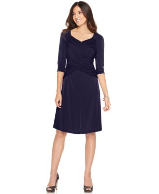 Elementz Dress, Three Quarter Sleeve B-Slim A-Line