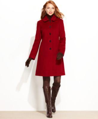 Anne Klein Coat, Seamed Button-Front Walker