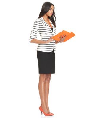 Work Your Wardrobe Striped Jacket & Pencil Skirt Look