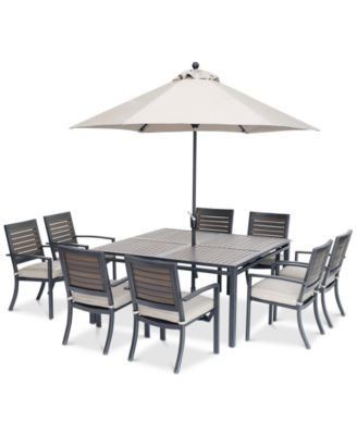 marlough ii outdoor aluminum 9 pc dining set 62 square dining table and 8 dining chairs with sunbrella cushions created for macy s