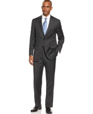 Tasso Elba Suit, Charcoal Plaid