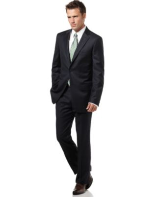 Tasso Elba Suit, Navy Windowpane Slim Fit