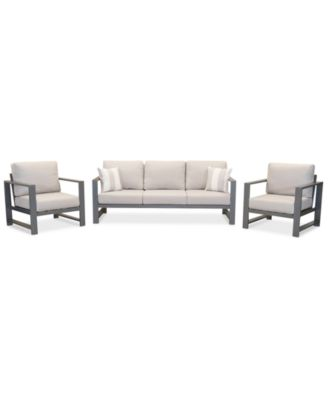 aruba grey aluminum outdoor 3 pc seating set 1 sofa 2 club chairs with sunbrella cushions created for macy s
