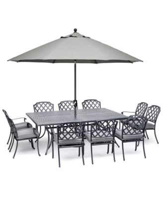 vintage ii outdoor cast aluminum 11 pc dining set 84 x 60 table 10 dining chairs with sunbrella cushions created for macy s