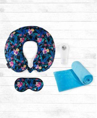 4 pc memory foam travel neck pillow blanket and bottles set