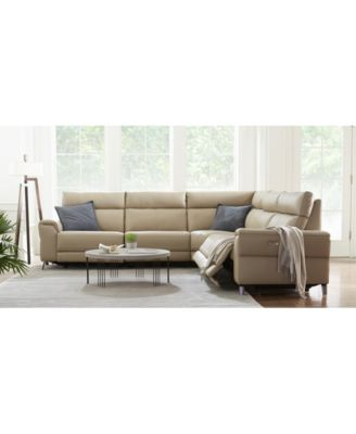closeout raymere fabric leather power reclining sectional sofa collection created for macy s