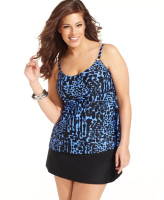 Island Escape Plus Size Swimsuit, Printed Tankini Top & Solid Skirted Swim Bottom