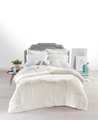 shaggy faux fur twin twin xl 2 pc comforter set created for macy s