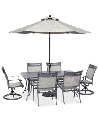 vintage ii outdoor cast aluminum 7 pc dining set 72 x 38 table 4 sling dining chairs 2 sling swivel chairs created for macy s